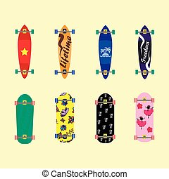 Set of skateboards on light yellow background, vector...