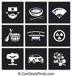 Vector Set of Japan Icons. Japanese, Food, Fan, Bath, Sword,...