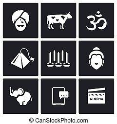 Vector Set of India Icons Hindu, Sacred Animal, Aum, Tea,...