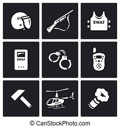 Vector Set of SWAT Police Icons. Rapid response Special...