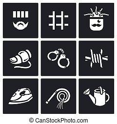 Vector Set of Interrogation Icons. Criminal, Prison,...