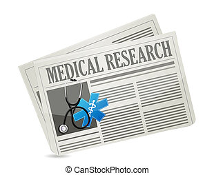 Medical research newsletter isolated sign