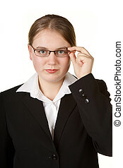 young business woman adjusting glasses isolated on white...