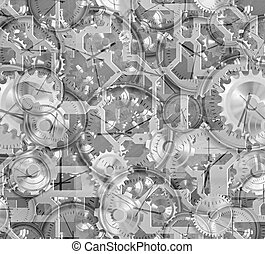 cogs and clockwork machinery - black and white illustration...