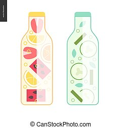Two bottles of detox water