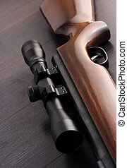 Rifle scope - sniper rifle with scope, closeup