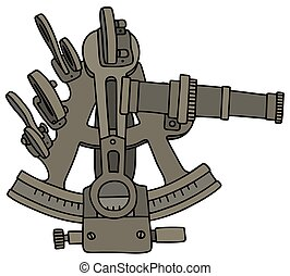Historic brass sextant - Hand drawing of a historic brass...