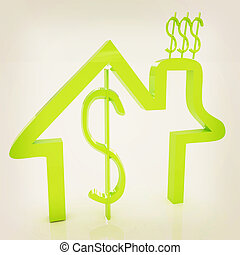 Household Expenditure icon 3D illustration Vintage style