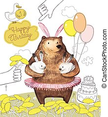 Pretty Bird and Cute Cartoon bear with the balloons holding...