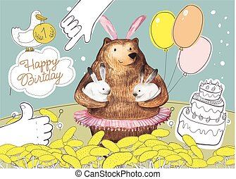 Cute cartoon bear with the balloons holding two little...