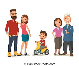 Happy family. Parents, grandparents and child on a tricycle.