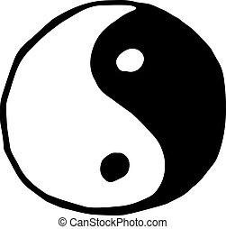 Ying yang symbol icon isolated on white background