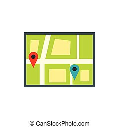 Map with pin pointers icon in flat style - icon in flat...