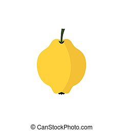 Yellow quince fruit icon, flat style - icon in flat style on...