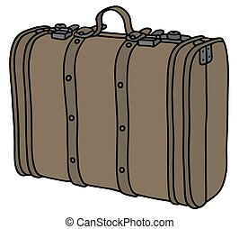 Old leather suitcase - Hand drawing of a vintage big leather...