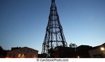 Shukhovskaya radio tower, night Moscow, Russia