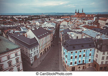 streets and houses in the center of the city of Olomouc in...