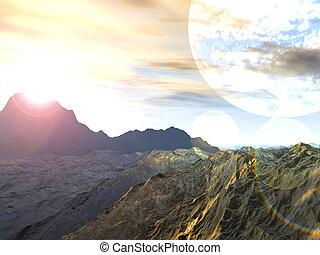 planeta, de, Tormentas, 3D, interpretación