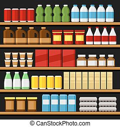 Supermarket. Shelfs Shelves with Products and Drinks. Vector