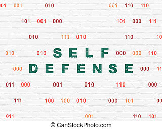 Protection concept: Self Defense on wall background -...