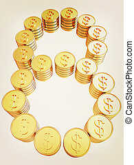 """Number """"eight"""" of gold coins with dollar sign. 3D illustration. Vintage style."""