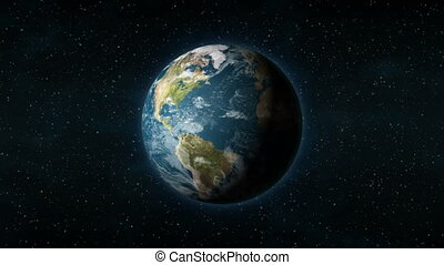 Realistic Earth from space spinning around its axis -...