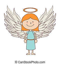 angel smiling icon vector graphic - angel heavenly saint...