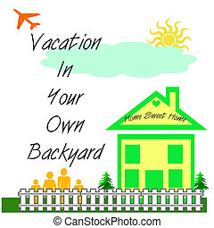 backyard vacation - small family and green house poster with...