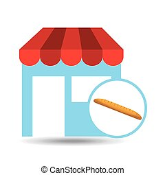 selling fresh baguette, bakery products, vector illustration