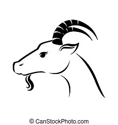 goat animal capricorn icon vector graphic - goat ram face...