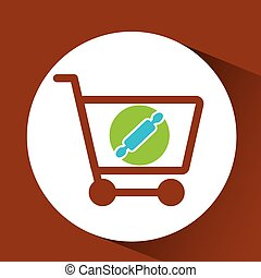 Shopping Cart with rolling pin