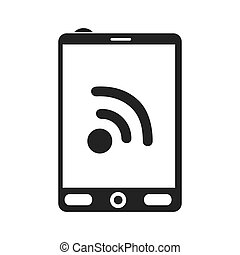 smartphone internet red wifi screen mobile phone icon vector...