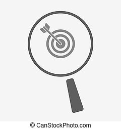 Isolated magnifier icon with a dart board - Illustration of...