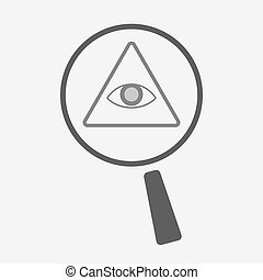 Isolated magnifier icon with an all seeing eye -...