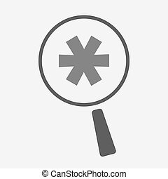 Isolated magnifier icon with an asterisk - Illustration of...