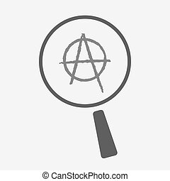 Isolated magnifier icon with an anarchy sign - Illustration...