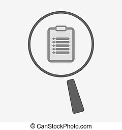 Isolated magnifier icon with a report - Illustration of an...