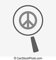 Isolated magnifier icon with a peace sign - Illustration of...