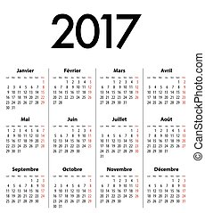 French Solid Calendar grid for 2017 - French Calendar grid...