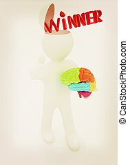 3d people - man with half head, brain and trumb up Winner 3D...