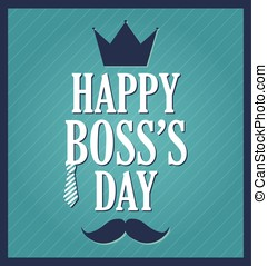 Boss Day greeting template. Blue background, dark blue...