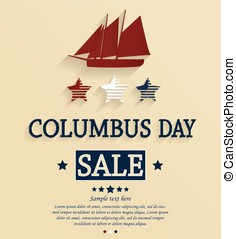 Columbus Day sale card Vector illustration