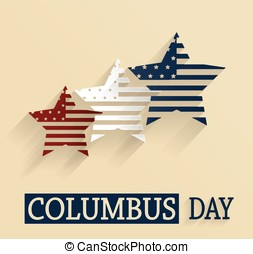 Columbus Day poster. Red, white and blue stars. Vector...