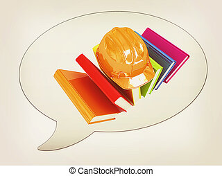 messenger window icon and Hard hat on a colorful books . 3D...