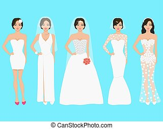 Vector illustration of a set of wedding dresses. Beautiful...