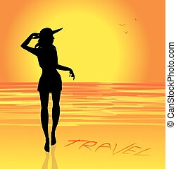 girl on the beach - girl silhouette on the beach