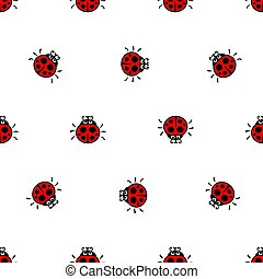 Ladybirds red seamless vector pattern - crawling ladybirds...