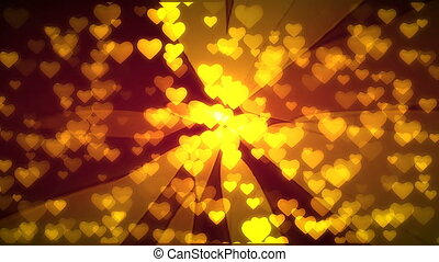 Gold hearts flying. 3D rendering.