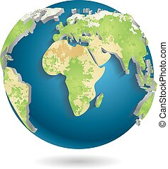 World Map Background Isolated Vector illustration - 3d World...