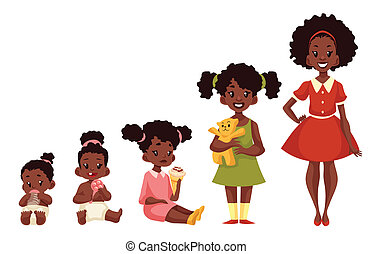 Set of black girls from newborn to infant toddler schoolboy...